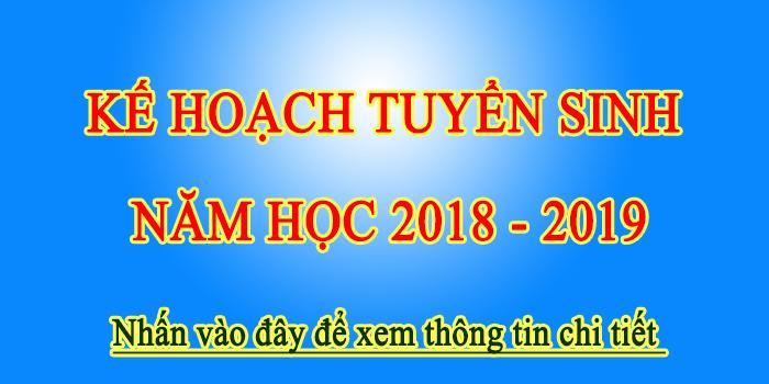 Kế hoạch tuyển sinh năm học 2018-2019